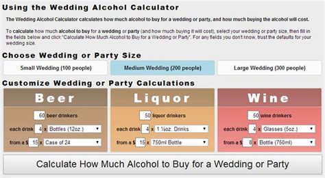 how much liquor to buy for a wedding the wedding calculator calculates how much