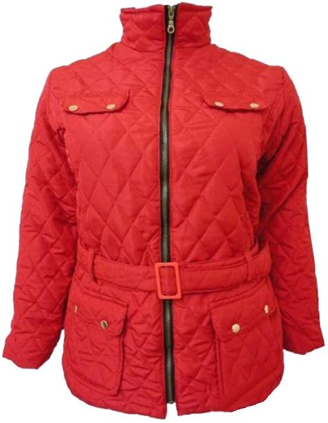 new plus size quilted padded jacket belted