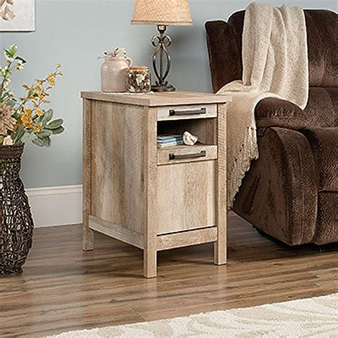 Side Tables With Storage Sauder Cannery Bridge Lintel Oak Storage Side Table 420337 The Home Depot