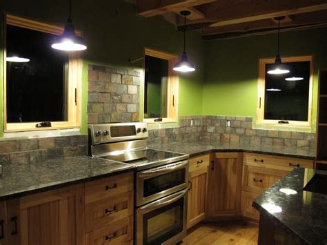 Slate Backsplashes For Kitchens porcelain barn lights give rustic look to farmhouse