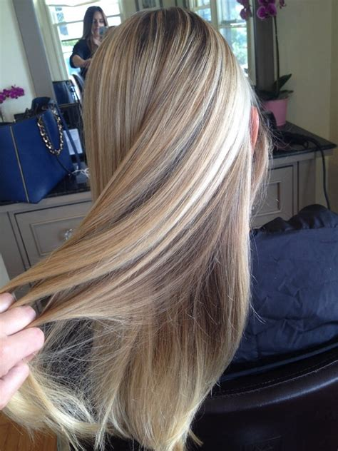 long straight hair styles hi and low lite gorgeous butter blonde highlights and low lights by gina k