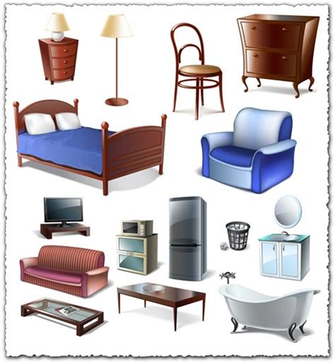Bedroom Items In Furniture Bedroom Vector Objects