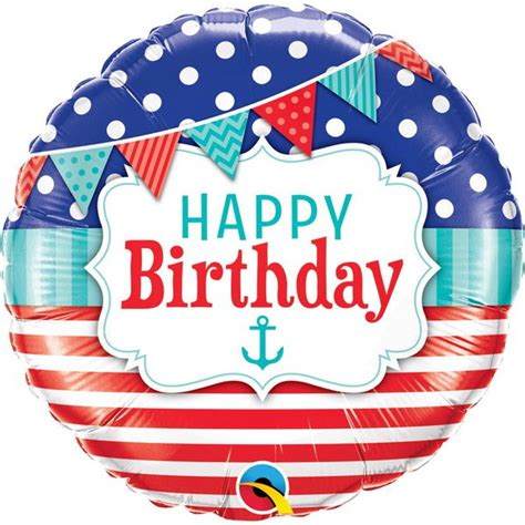 Balon Foil Happy Birthday Size 60 Cm qualatex 18 inch birthday nautical pennants from category birthday balloons balloonmalaysia