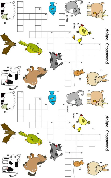 printable crossword puzzle animals vocabularytake the pen