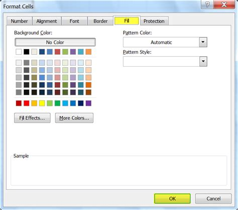 format excel by color fill tab