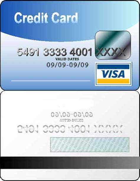 visa card template printable credit card id card