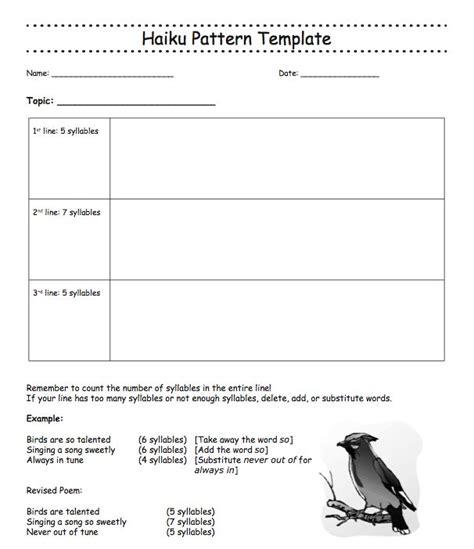Haiku Pattern Template this template gives an outline of writing a haiku poem as