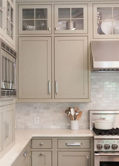 Greige Kitchen Cabinets | neutral painted cabinets gray greige taupe and gray