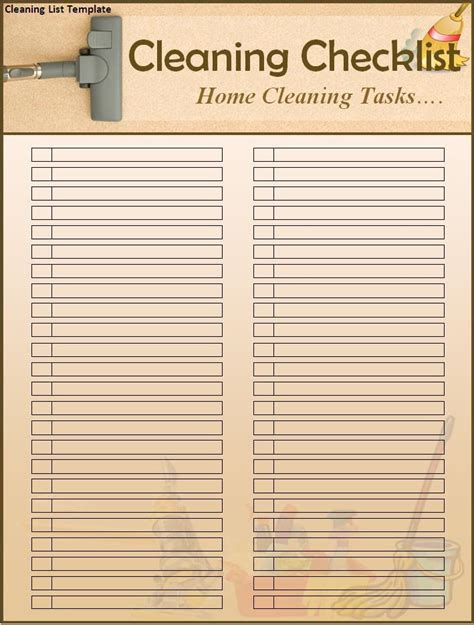 Cleaning List Template cleaning checklist templates new calendar template site