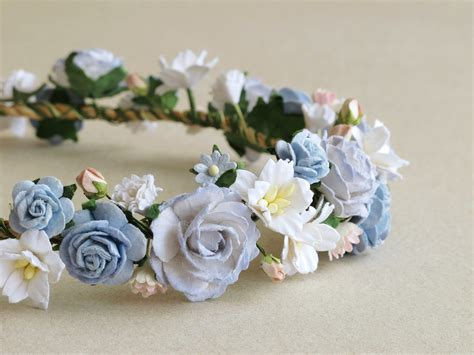 Flower Crown Mini flower crown serenity blue paper flower band made of