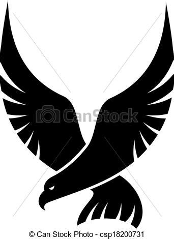 Swooping falcon bird. Black and white cartoon swooping