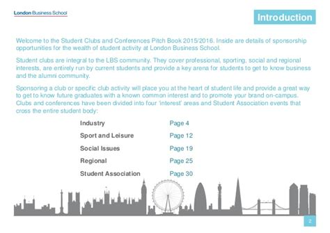 Lbs Mba Clubs by Student Clubs Pitch Book Business School
