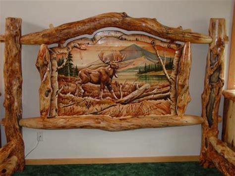 Western Dining Room Tables burl aspen log beds with carved panel log furniture cabin