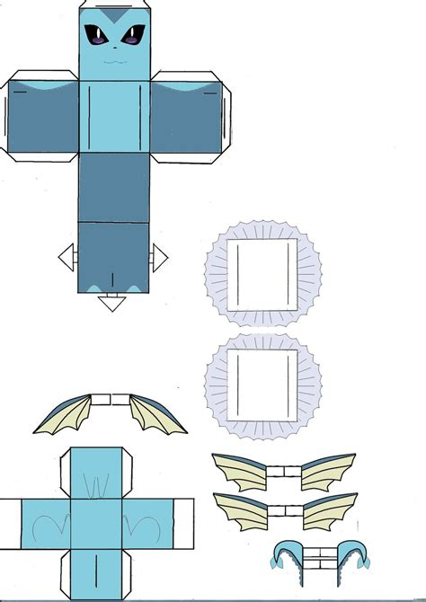 How To Make Papercraft - vaporeon cubeecraft model by klebers on deviantart