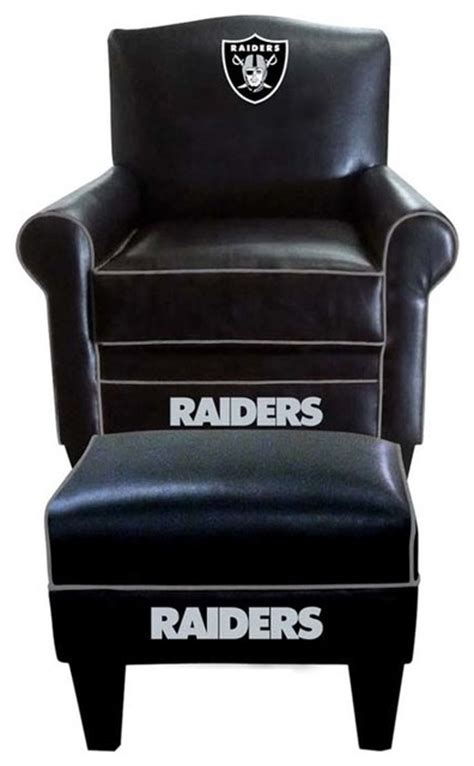 Raiders Furniture by Oakland Raiders Nfl Time Chair Ottoman Modern