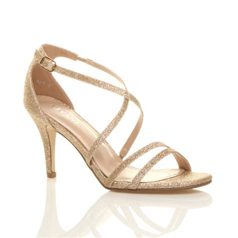 womens mid high heel strappy crossover wedding prom