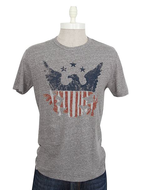 lucky brand vintage american flag tshirt in gray for