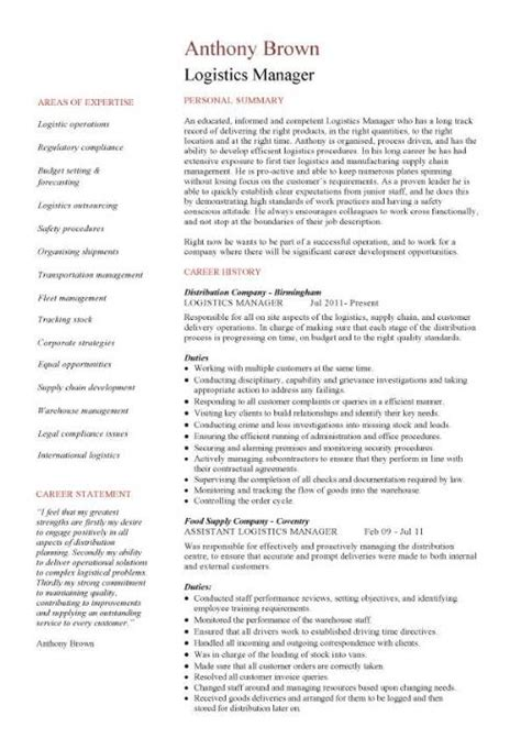 resume format for logistics manager logistics manager cv template exle description supply chain manager delivery of goods c