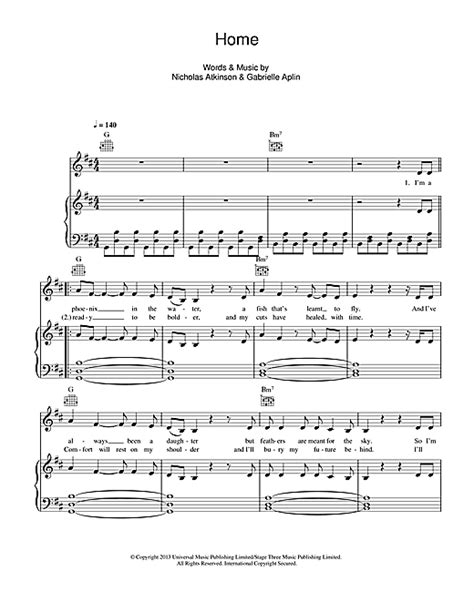 home sheet by gabrielle aplin piano vocal guitar