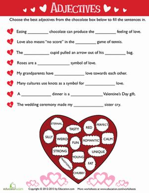 valentines day adjectives s day adjectives worksheet education