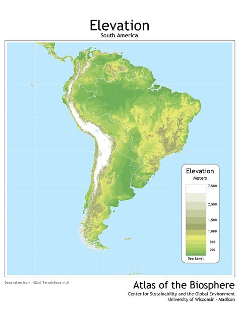 america map elevation south america continent map