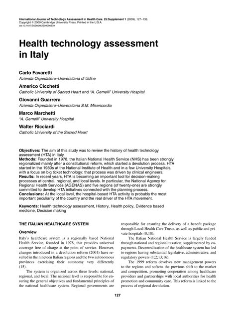 health technology assessment in italy pdf available