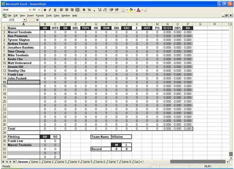 Baseball Card Statistics Template by Baseball Stats Spreadsheet Template Driverlayer Search