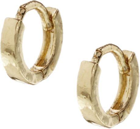Allen Dons Gold Ribbed Hoop Earrings A La Hilary Duff by Asos Tiny Hoop Earrings In Gold Lyst