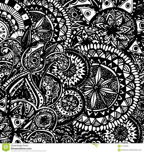 black  white ornate hand drawn doodles  stock