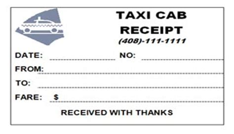 Seatac Taxi Receipt Template by Taxi Cab Receipt