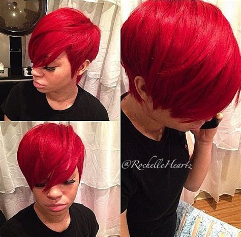hair weave for pixie cut bright red pixie cut quick weave styles pinterest