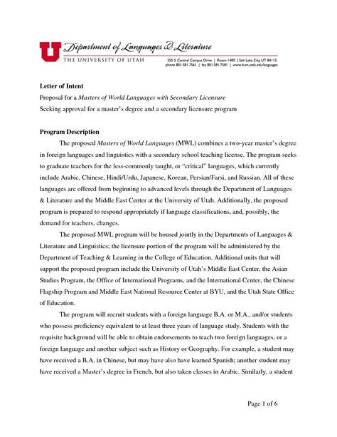 Letter Of Intent Template letter of intent phd application