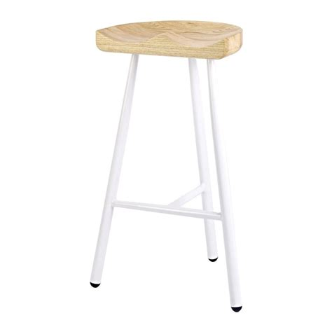 solid wood bar stools uk buy white 3 leg metal bar stool with solid light wood seat
