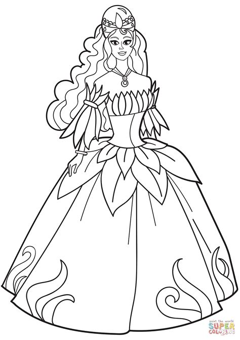 coloring pages of princess dresses princess in flower dress coloring page free printable