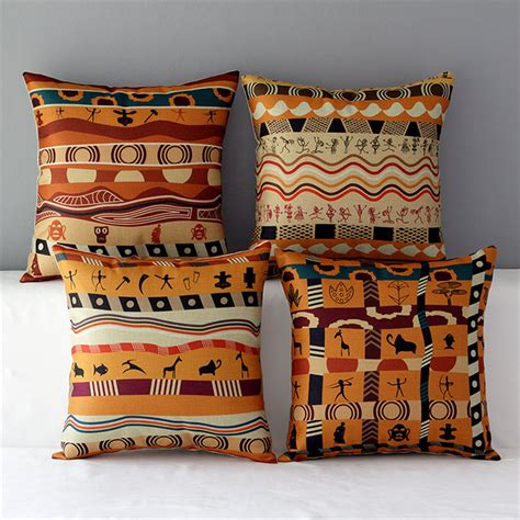 18 Quot Square Colorful African Cushion Tribe Cotton Linen Colorful Pillows For Sofa