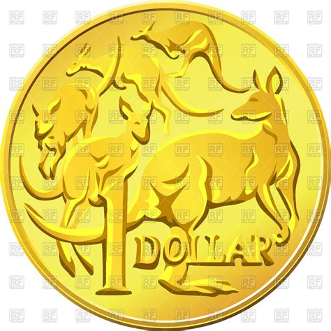 Australian Coins Outline by One Australian Dollar Golden Coin With A Kangaroo Business Finance Royalty Free