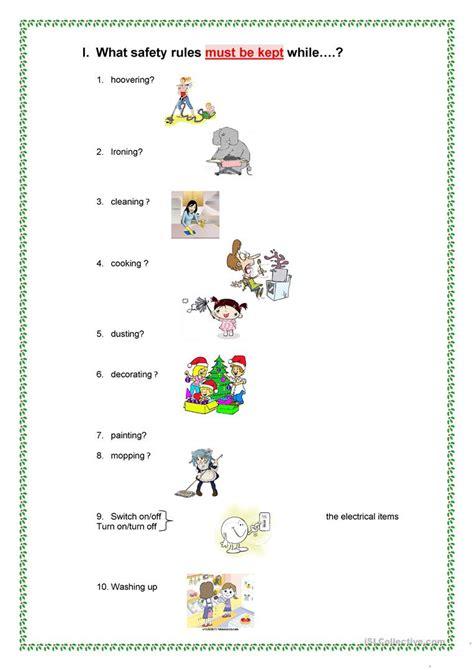 safety rules at home worksheet free esl printable