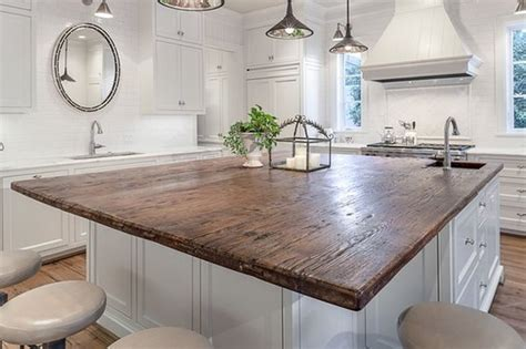 wood island tops kitchens reclaimed wood countertop on pinterest wood kitchen