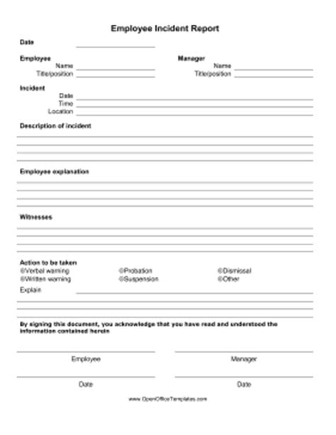 Employee Incident Report Form Openoffice Template Employee Injury Report Form Template