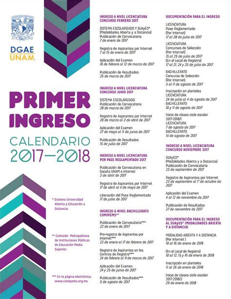 Calendario Escolar Unam Prepa 2017 Calendario De Primer Ingreso Unam