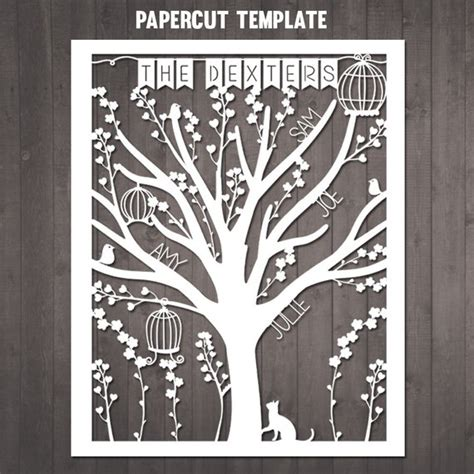 Family Tree Papercut Selbermachen Personalisierte Stammbaum Silhouette Templates For Paper Cutting