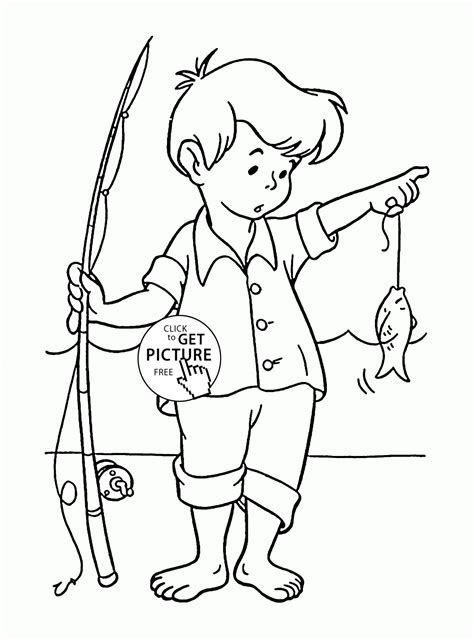 little fisherman coloring page for kids seasons coloring
