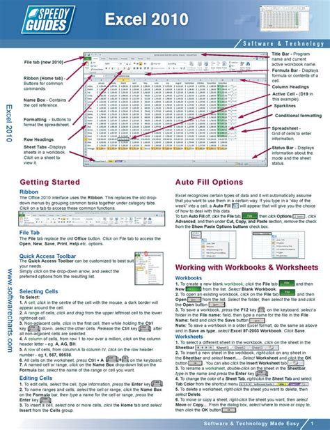 printable excel instructions microsoft excel 2010 laminated quick reference guide flickr
