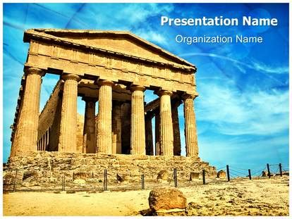 ancient greek temple powerpoint template background