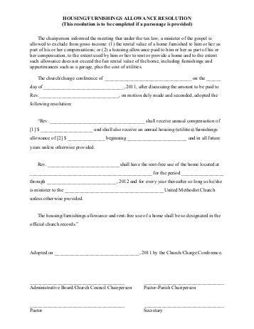 housing allowance clergy housing allowance worksheet lesupercoin printables