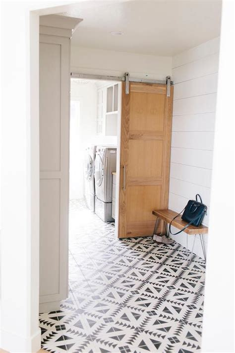 mudroom tile mudroom with black and white tulum concrete tile floor