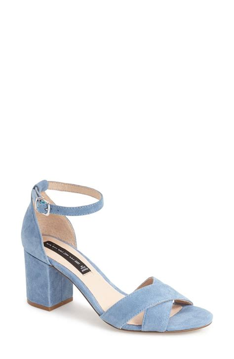 blue block heel sandals blue suede shoes this pair from steve madden has a slim