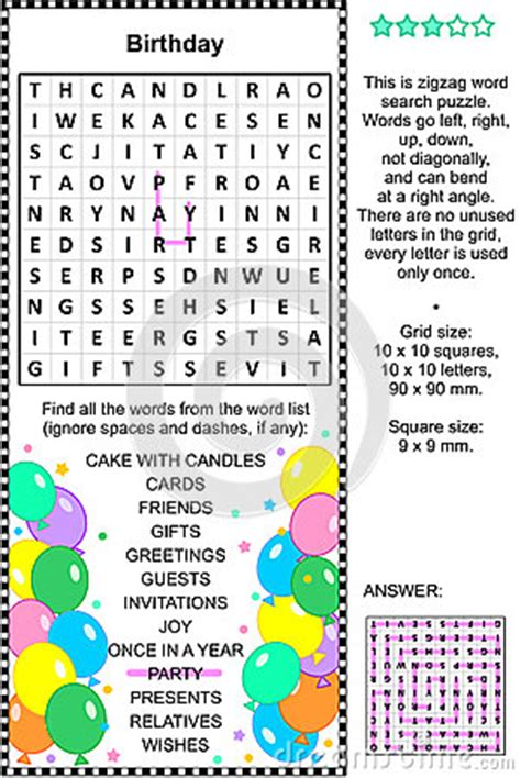 birthday themed words birthday wordsearch puzzle stock vector image 59289726