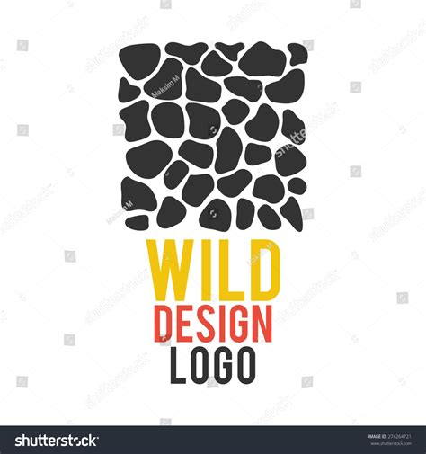 text logo template giraffe skin logo template editable text stock vector