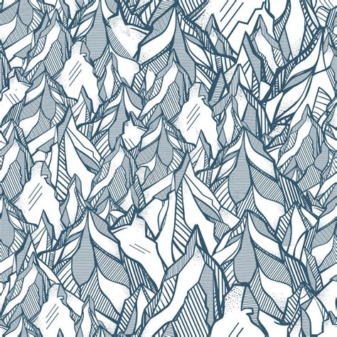 tribal line pattern hand drawn mountain seamless pattern stock vector image